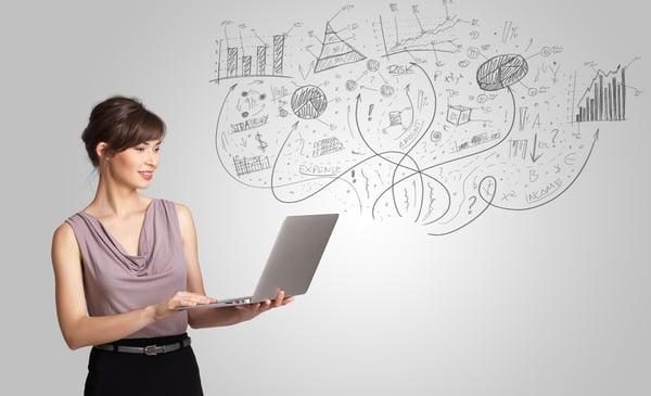 Business girl presenting salesforce-einstein-enalytics-widget_33