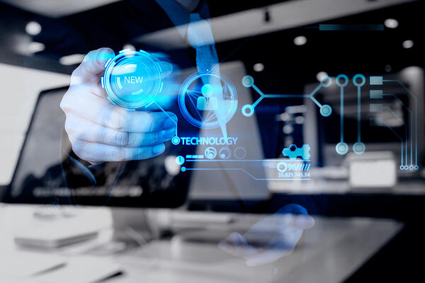 double exposure of businessman hand pushing  new technology button on modern computer as concept