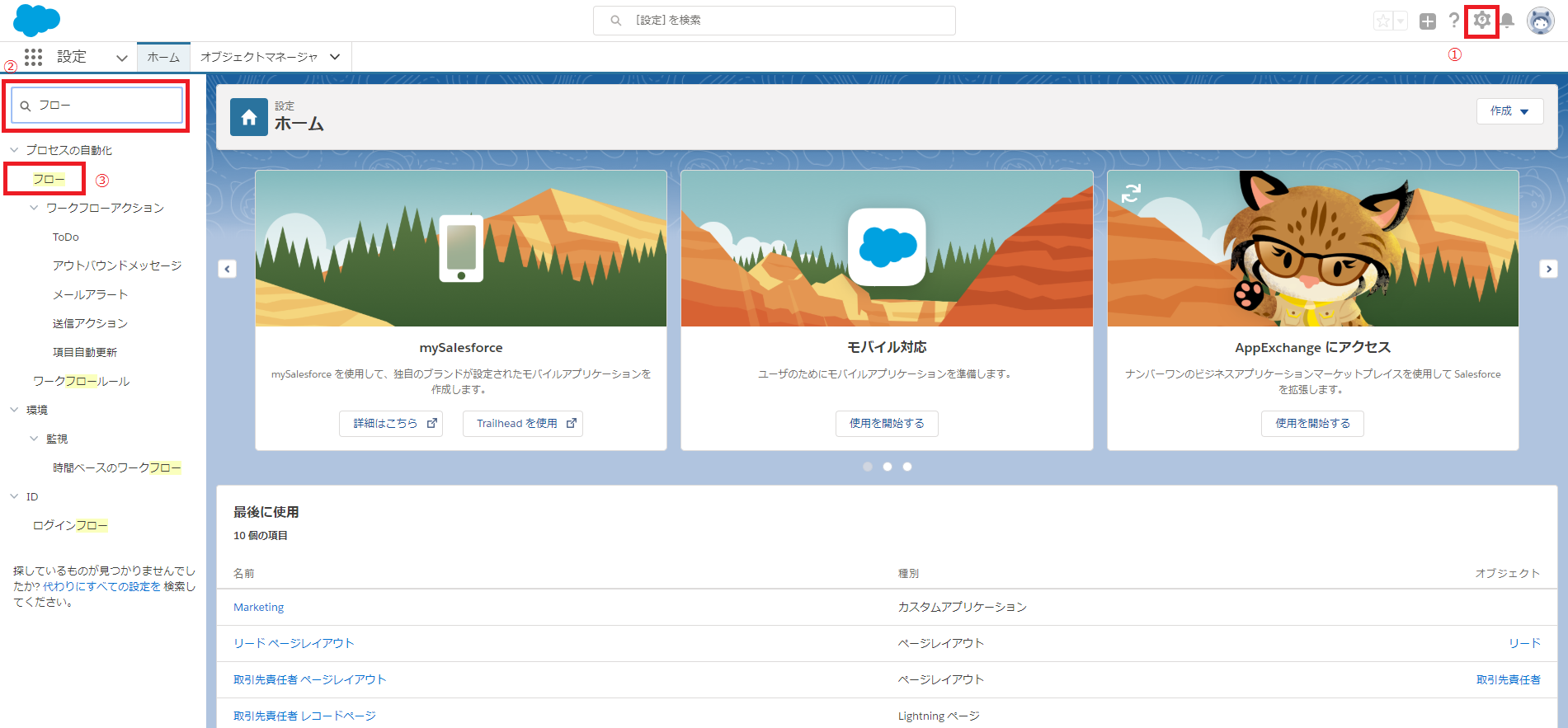 Salesforce設定画面